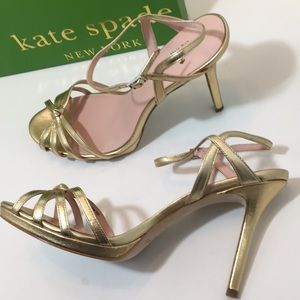 Kate Spade Gold Metallic Nappa High Heels Sandals